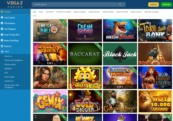 Vegaz Casino Homepage