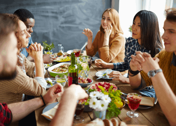 friends sharing and meal and not counting calories