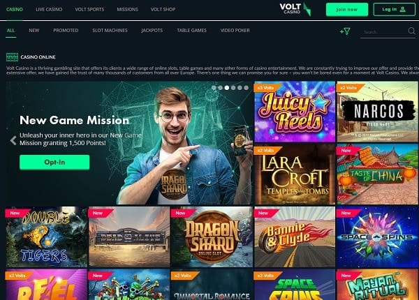 Volt Casino screen review