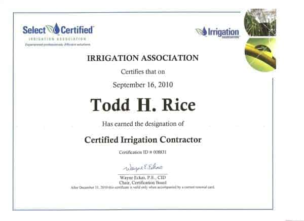 Certified Irrigation Contractor - Todd H. Rice - Midwest Lawn Sprinklers