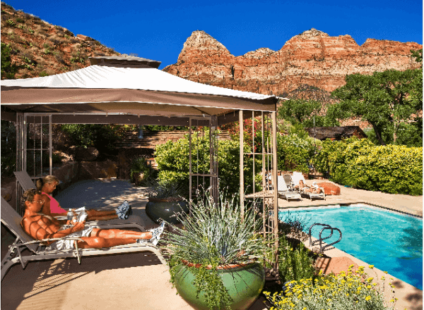 Pool with a view at flanigan's inn, zion park