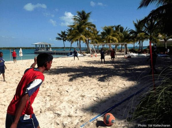Beach soccer on grace bay, turks & caicos