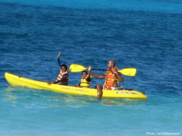 Kayaking off of providenciales