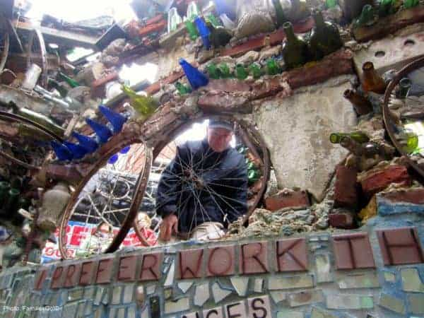 Tires and mosaics at the magic garden in philadelphia