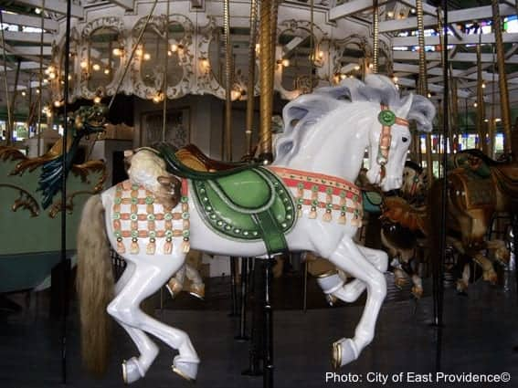 A white horse on the crescent park carousel, ri