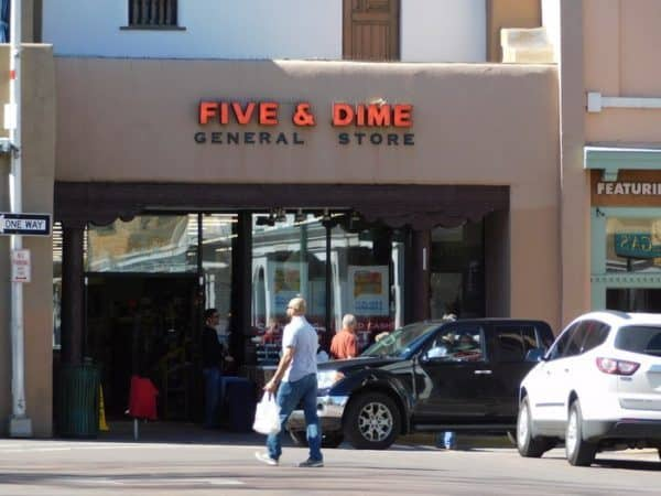 The storefront of the five & dime store in santa fe, inventor of the frito pie.