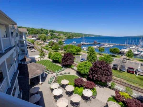 The Watkins Glen Harbor Hotel in the Finger Lakes has a gorgeous view of Seneca Lake.