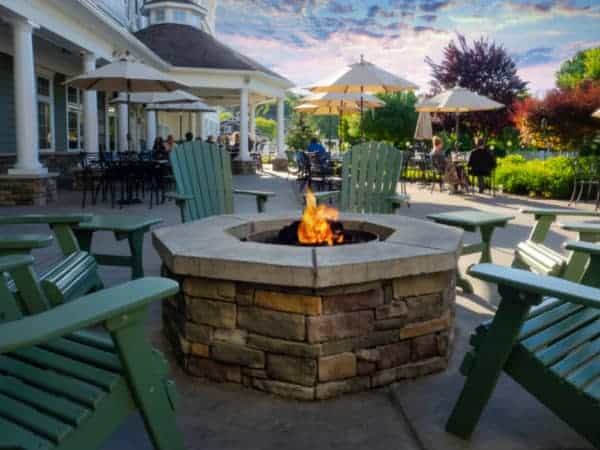 The Harbor Hotel's lake-facing patio in Watkins Glen is the idea place to relax with a glass of local wine or beer.