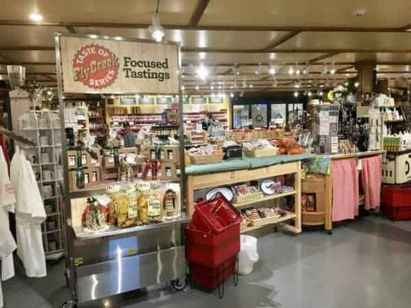 Fly creek cider mill is a shop and a destination with its many local and gourmet foods and ample samples.