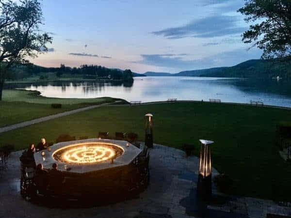 The firebar at the Otesaga Resort is the ideal place for a sunset view of Lake Otsego on a chilly evening.