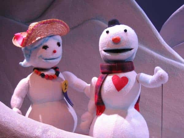 The lovesick snowman and the object of his desire at the puppetry arts center in atlanta