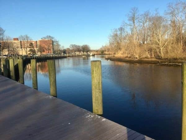 The peconic river from the riverfront park in riverhead.