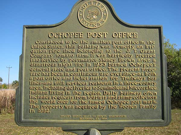 Historic marker for Ochopee Post Office, smallest post office in the US