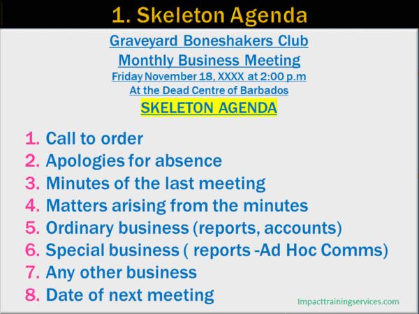image of example of skeleton agenda