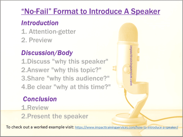 image describing a no-fail format to introduce a speaker