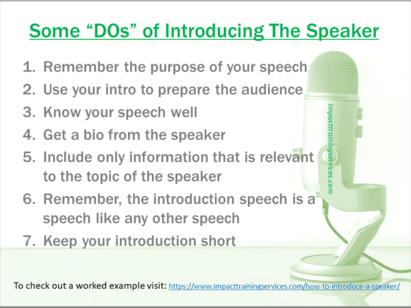 image of list of things to do when introducing speaker