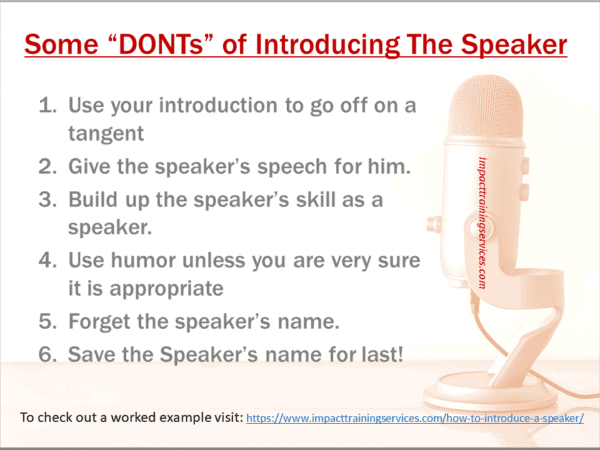 image of list of things not to do when you introduce speaker