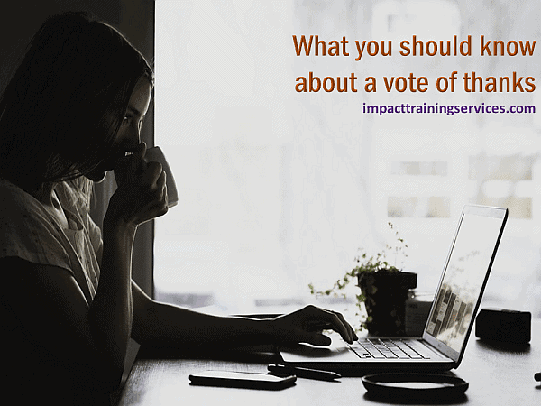 image of woman on computer finding out what you should know about a vote of thanks
