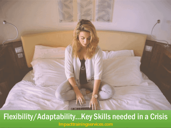 image of a woman showing flexibility/adaptability in a crisis