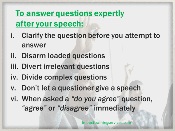 image showing 6 steps o answer questions expertly after speech