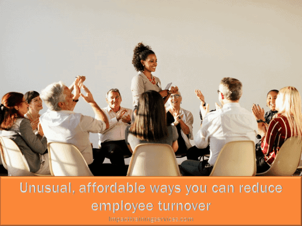 cover image showing happy employees who avoided employee turnover