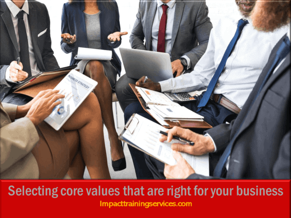 cover image for selecting core values that are right for your business