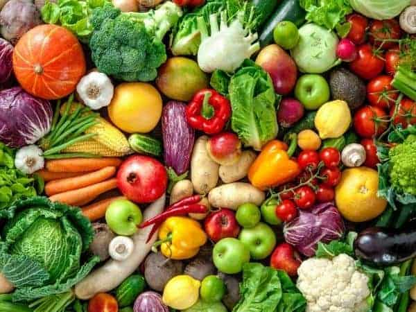selection of colourful vegetables