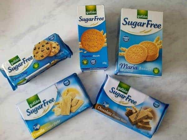 gullon biscuit selection on white marble background