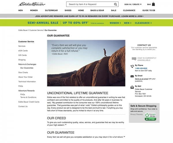 Example of an ecommerce store that reverses buyer risk