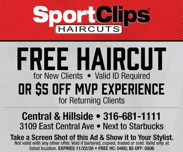 Sport Clips grand opening coupon - Wichita, KS (free haircut for new customers; $5 off MVP Experience existing customers)