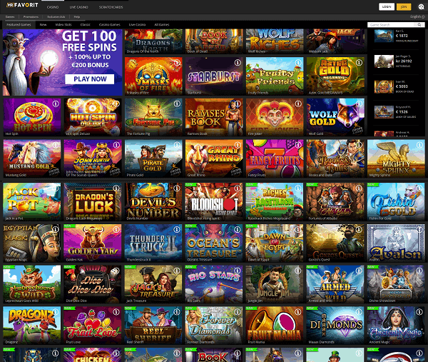 All information about MrFavorit Casino - games, software, bonuses, promotions, etc,
