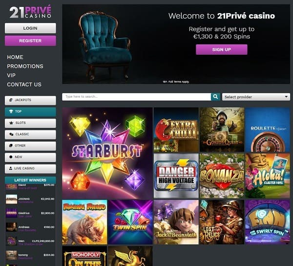 21 Prive Casino Exclusive Bonus, No Deposit Free Spins, Review