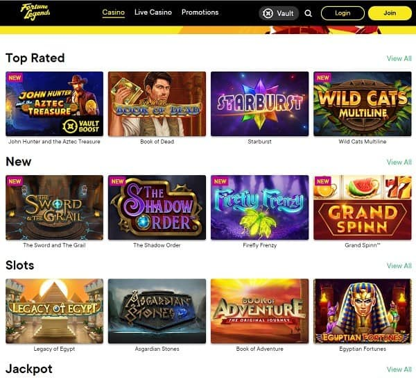 Fortune Legends Casino 55 free spins no wager bonus