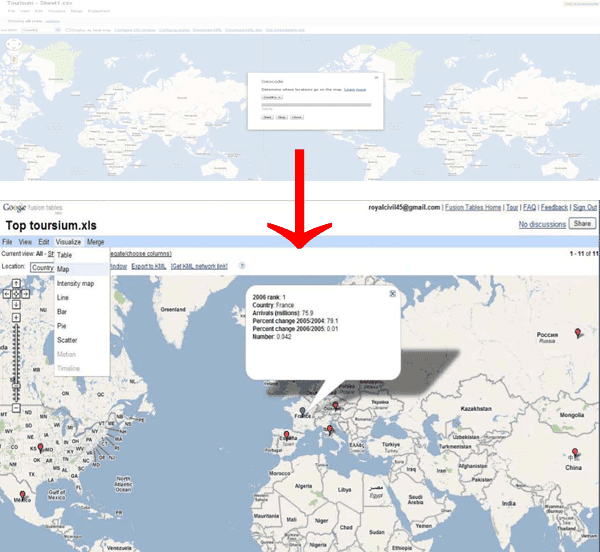 Figure 4. Google Map interface to the Top tourism data.
