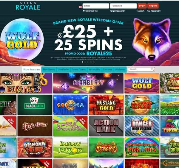 Spins Royale Casino Review: £25 Bonus & 25 Free Spins on Wolf Gold