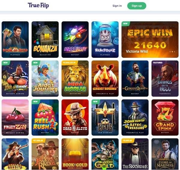 True Flip Casino Online 50 free spins and 200% bonus