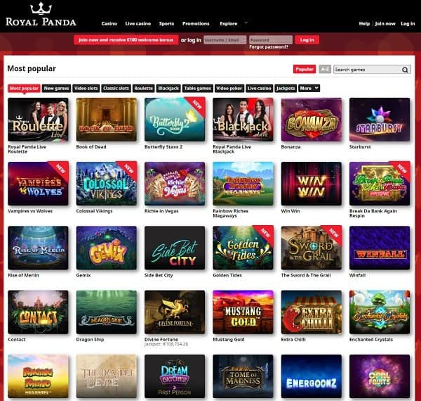 Royal Panda Casino Online and Mobile