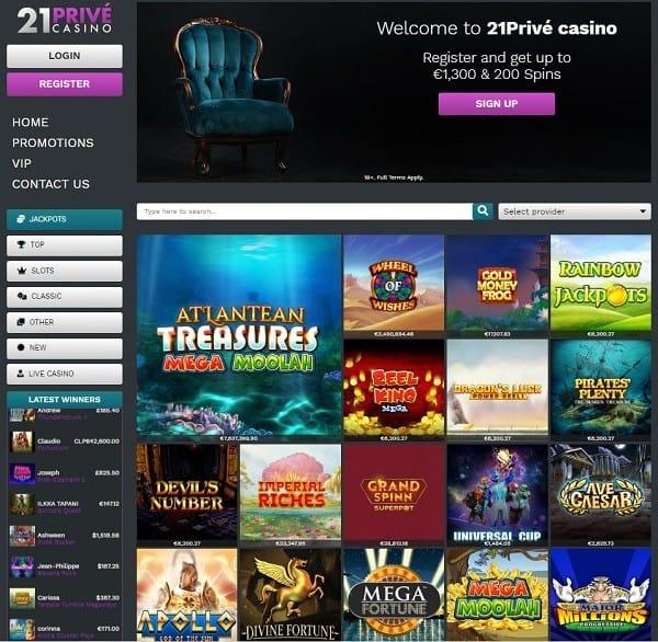 21 Prive Casino 200 free spins bonus