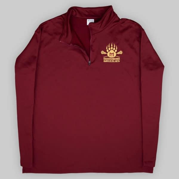 Fleece Quarter Zip - Cardinal - Grizzlies Lacrosse Embroidery
