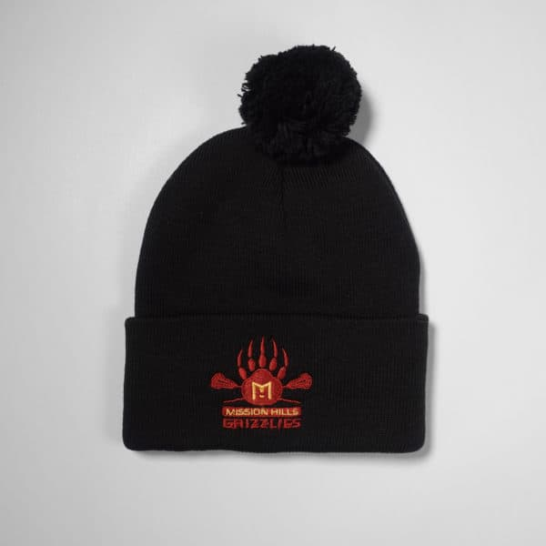 Beanie - Black - Grizzlies Lacrosse Embroidery