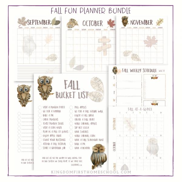Printable Fall Fun Planner