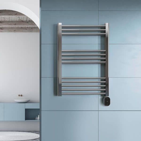 Rointe Elba Oval electric towel rail with 6 temperature modes in chrome wall mounted in bathroom