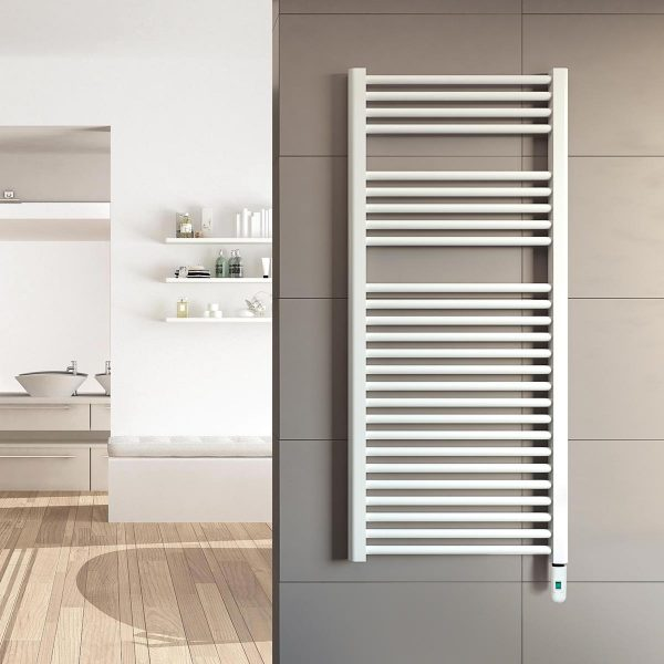 Rointe Giza Pro electric towel rail with on/off control in white wall mounted in bathroom