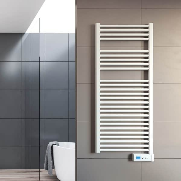 Rointe Giza Digital electric towel rail with 24/7 programming and LCD screen in chrome wall mounted in bathroom