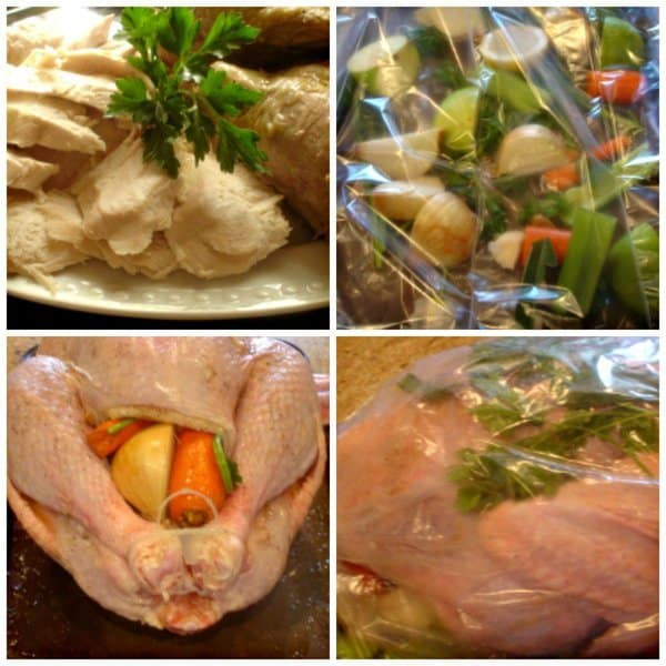 Upside Down Inside Outside Turkey. A whole turkey cooked cooked with fruits, vegetables and herbs, upside down in a brown 'n' bag. The white meat is as tender as the dark.