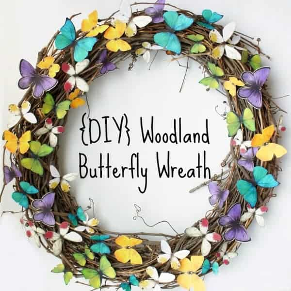 wreath with paper butterflies