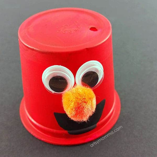 Elmo craft make from a coffee pod
