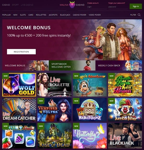Malina Casino Online and Mobile