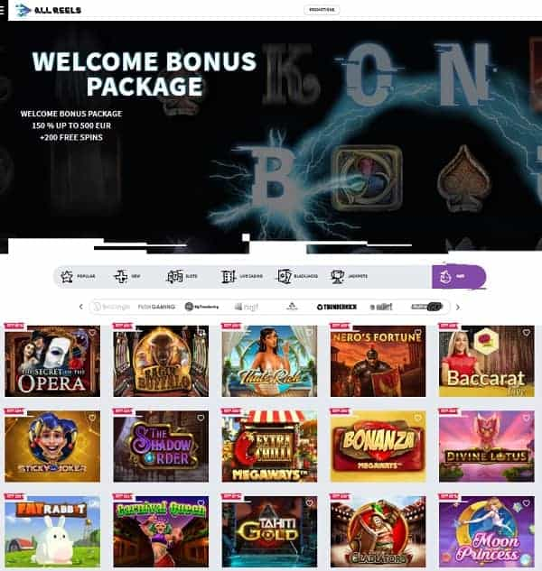 All Reels Casino Review & Free Spins