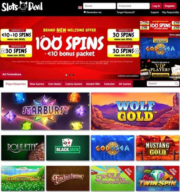 Slots Devil Casino Review: $/€/£10 bonus + 100 free spins on Starburst